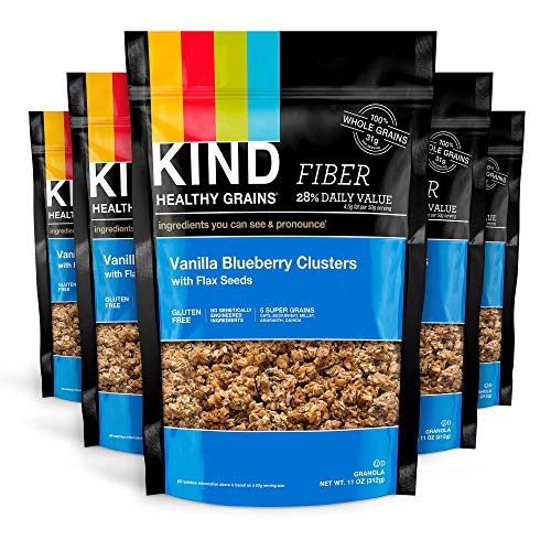 KIND Healthy Grains Clusters, Vanilla Blueberry with Flax Seeds Granola, 10g Protein, Gluten Free, 11 Ounce (Pack of 6)