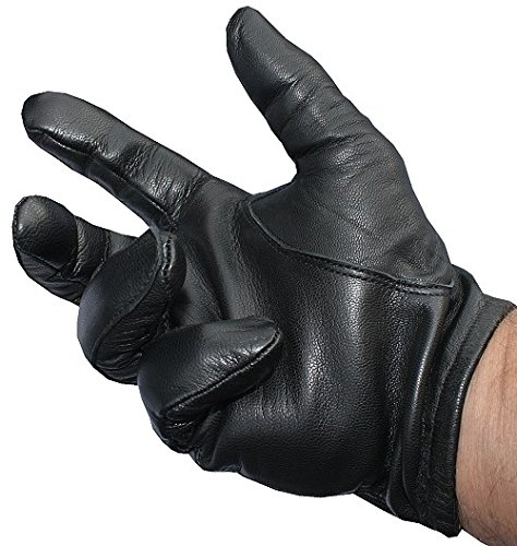 Black Leather Tactical Gloves - 3