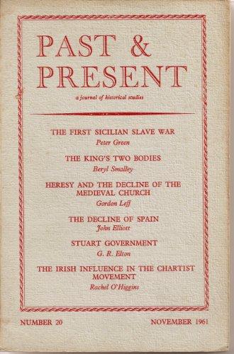 Past & Present, A Journal of Historical Studies, Number 20, Number 20, November 1961