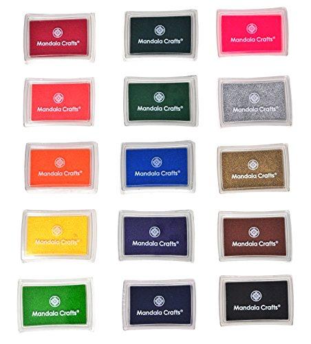 Waterproof Stamp Pad - Mandala Crafts 15 Colors Assorted Kids Ink Pads Set for Rubber Stamps Scrapbooking Fingerprinting Card Making (15 Pads)