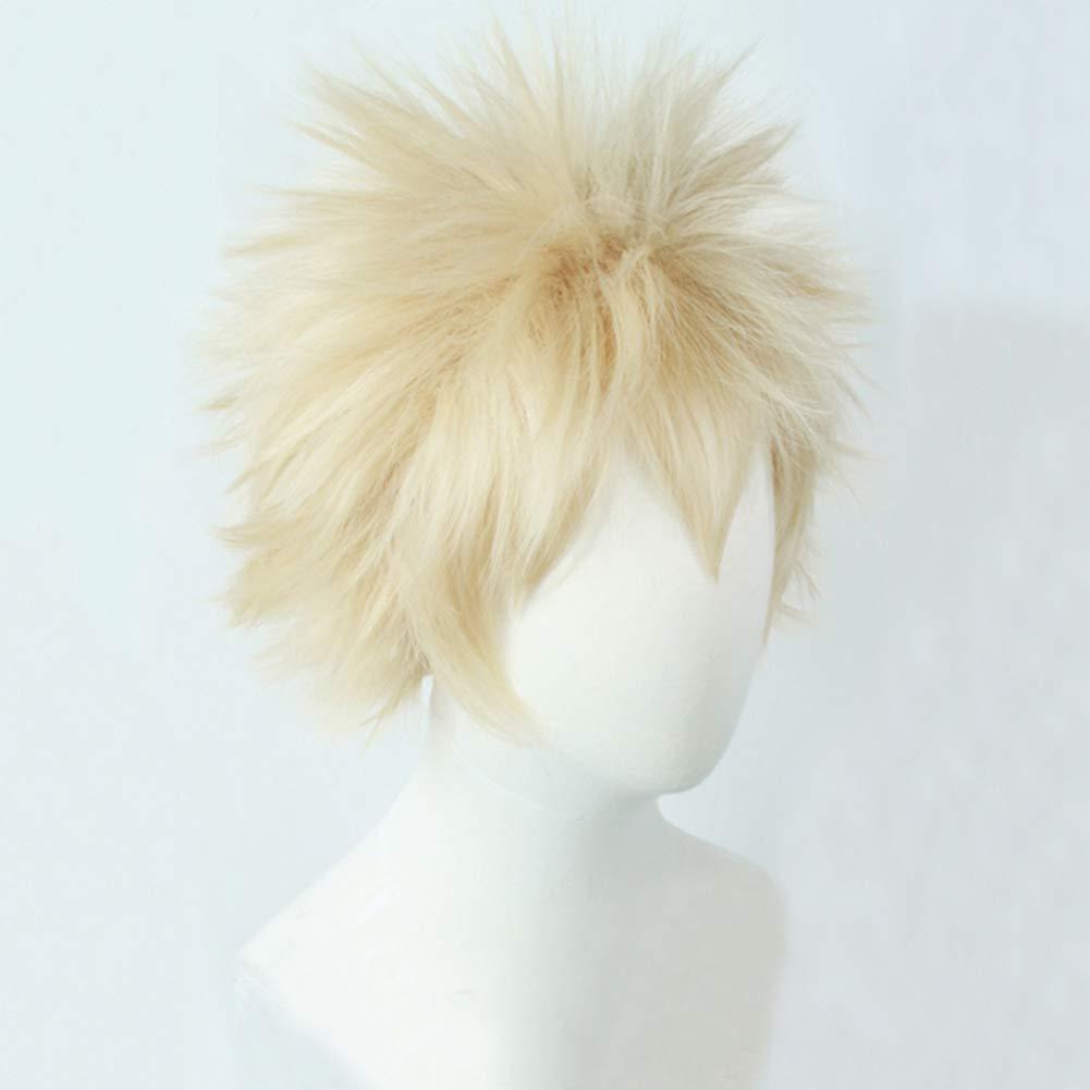 Kingmia Parrucca per cosplay My Hero Academia Boku no Hero Bakugou Katsuki Midoriya Izuku capelli corti biondi