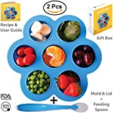 Egg Bites Mold for Instant Pot Silicone with Feeding Spoon for Baby Food Puree - Accessories Fit Instant Pot 5,6,8 qt Pressure Cooker, Reusable Freezer Tray and Storage Container with Lid