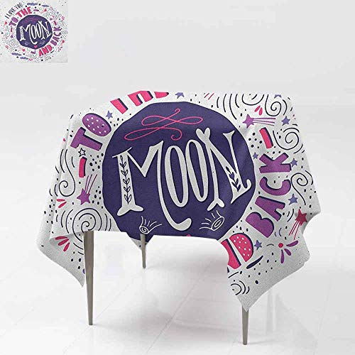 (AndyTours Waterproof Table Cover,I Love You,Sweet Colorful Love with Fun Forms Comet Storm Clouds Valentines Theme,Party Decorations Table Cover Cloth,60x60 Inch Pink Violet Purple)