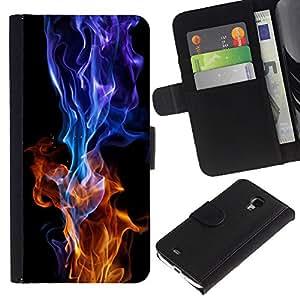 For Samsung Galaxy S4 Mini i9190 MINI VERSION!,S-type® Red Blue Flame Burning Black Vibrant - Dibujo PU billetera de cuero Funda Case Caso de la piel de la bolsa protectora