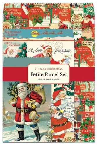 Cavallini 12-Pack Petite Vintage Christmas Parcel Set (Sheet Vintage Flat)