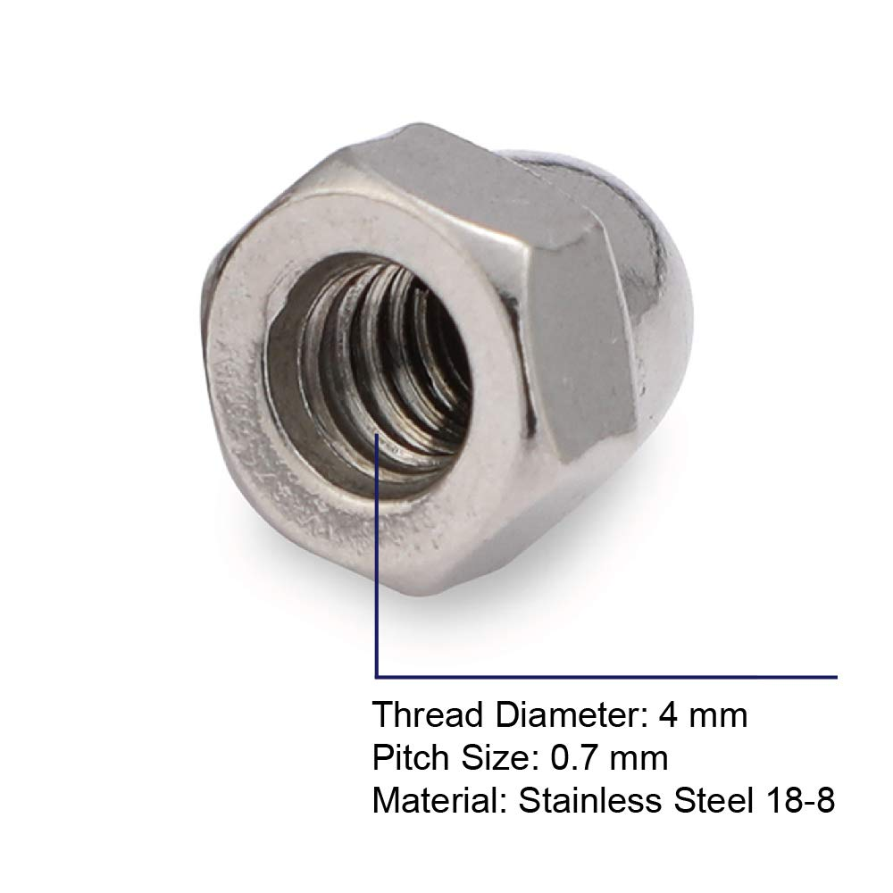 20 PCS Plain Finish Stainless Steel 304 MewuDecor M8-1.25 Metric Acorn Cap Nuts
