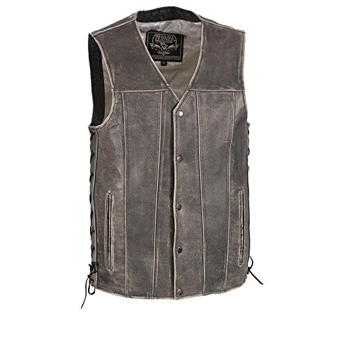 Gry Leather - Milwaukee Leather Men's Distrssd Gry Straight Bottom Side Lace Vest-Distressed GRY-2X-LARGE Grey, XX-Large