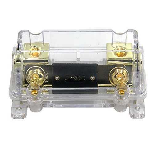 ZOOKOTO 100A Fuse Holder,Car Stereo Audio Inline ANL Fuse Holder 0 2 4 Gauge in out with 100 Amp Fuse (Stereo Holder)