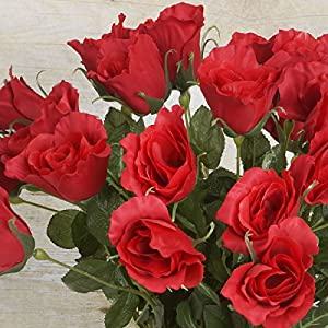 BalsaCircle 48 Long Single Stem Roses - 4 Bundles - Artificial Flowers Wedding Party Centerpieces Arrangements Bouquets Supplies 27