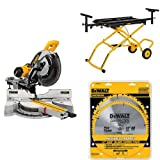 "DEWALT DWS779 12"" Sliding Compound Miter Saw, Rolling Miter Saw Stand and 80 Tooth and 32T ATB Thin Kerf 12-inch Crosscutting Miter Saw Blade, 2 Pack"