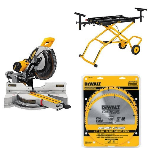 DEWALT DWS779 12 inch Sliding Compound Miter Saw, Rolling Miter Saw Stand and 80 Tooth and 32T ATB Thin Kerf 12-inch Crosscutting Miter Saw Blade, 2 Pack
