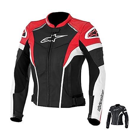 BLACK//WHITE//RED Alpinestars Womens Stella GP Plus R Leather Jacket 44