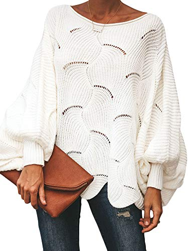 Ybenlow Womens Off Shoulder Sweaters Batwing Sleeve Loose Overiszed Hollow Knit Pullover Jumper Tops White (Hollow Out Pullover)