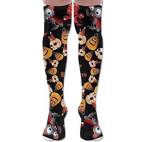 DFAUHAL Halloween Round Image Knee High Graduated Compression Socks for Unisex - Best Medical, Nursing, Travel & Flight Socks - Running & Fitness