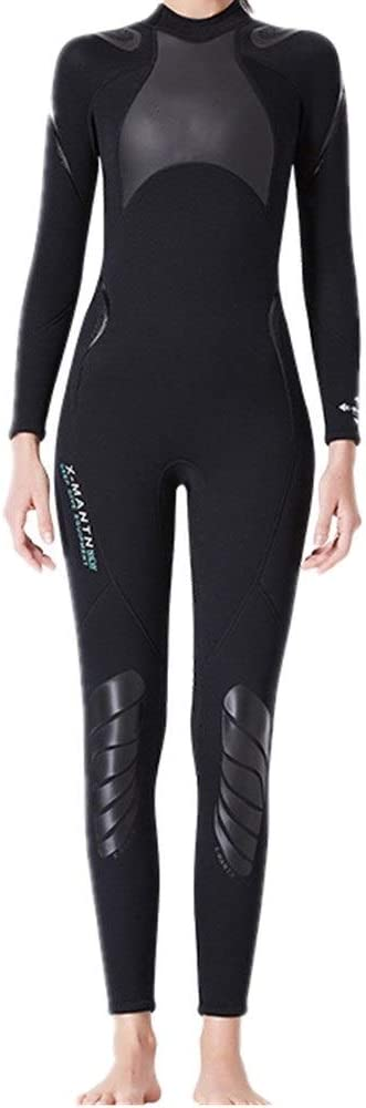 ウェットスーツ レディース 女性の全身長袖ウェットスーツ3 mmネオプレンダイビングスーツ、サーフィン、シュノーケリング、スキューバダイビング ダイビングスーツ ネオプレンスーツ (Size : L)  Large