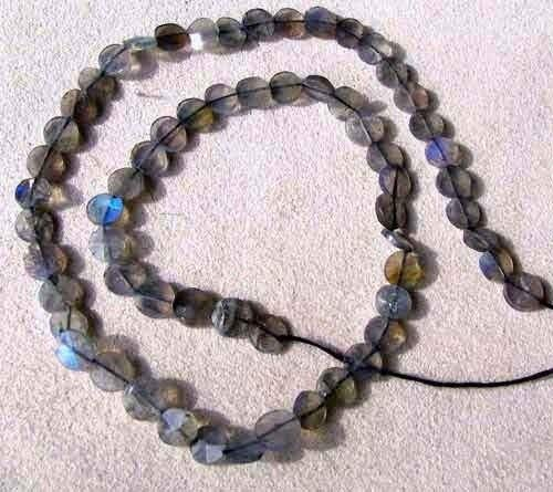 Flash Labradorite Faceted Coin Bead Strand for Jewelry Making 107499