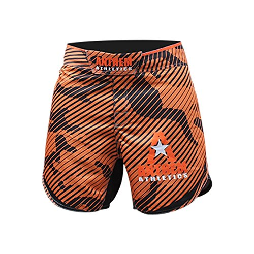 "Anthem Athletics Defiance Kickboxing Short MMA Shorts - Muay Thai, BJJ, WOD, Cross-Training, OCR - Orange Line Camo - 30"""