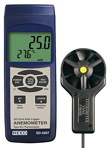 Air Velocity Probe - REED Instruments SD-4207 SD Series Vane Thermo-Anemometer, Datalogger, w/Temperature