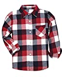 Kids Long Sleeves Button Down Flannel Cotton Plaid Shirt Tops for Big Boys, Red, 11-12 Years = Tag 180