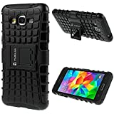 TARKAN Hard Armor Hybrid Rubber Bumper Flip Stand Rugged Back Case Cover For Samsung Galaxy Grand 2 G7106 - BLACK
