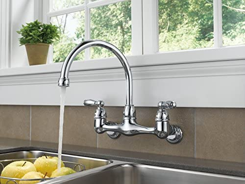 Peerless 2 Handle Wall Mount Kitchen Sink Faucet Chrome P299305lf