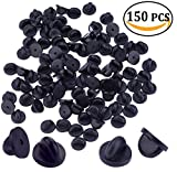 150 Pack PVC Rubber Pin Backs Keepers Replacement Uniform Badge Comfort Fit Tie Tack Lapel Pin Backing Holder Clasp (150Pcs)