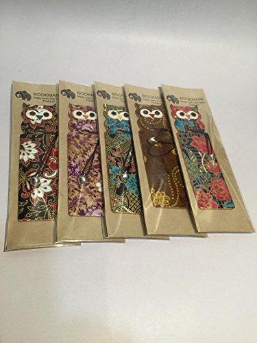 Yositashop 5 piezas/1 juego creativo hecho a mano bonito búho marcapáginas multicolor Tamaño: 1,55 x 4,85 x 0,05' para...