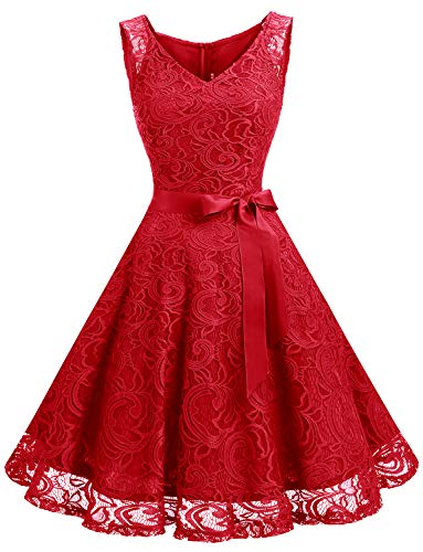 Dressystar Women Floral Lace Bridesmaid Party Dress Short Prom Dress V Neck XS Red (Red Dresses For Bridesmaid)