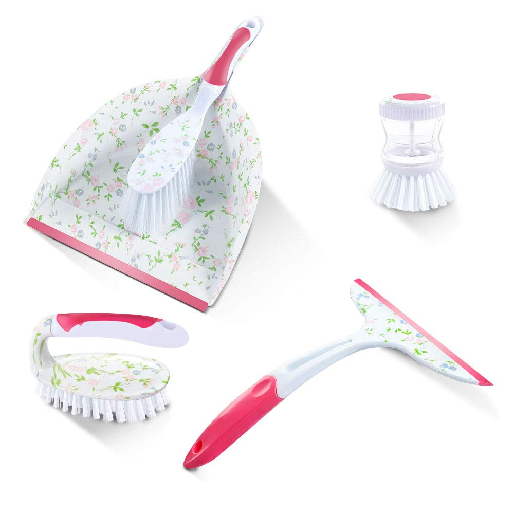 Masthome Printed 4 Piece Brush And Dustpan Squeegee Set Include Dish Brush &Scrubber Brush,Dustpan,Squeegee Household Cleaning Set