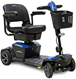 Pride Jazzy ZERO TURN 4-Wheel Travel Mobility Scooters, Get the Best of Both Worlds - 4 Wheel Stability Meets 3 Wheel Maneuverability (Sapphire Blue,)