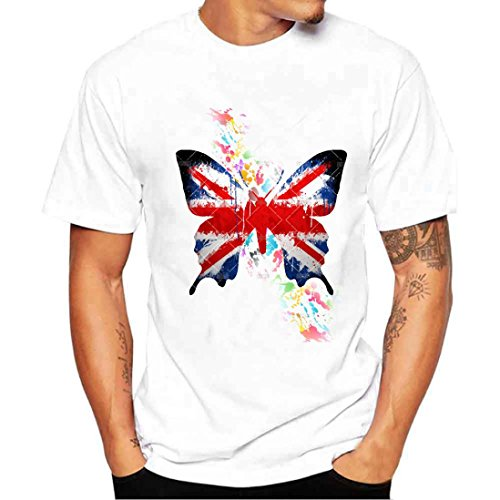Independence Day Tops, ❤️ Toponly Women Girls Plus Size Butterfly Flag Print Tees Shirt Short Sleeve Cotton Blouse Tops (Sexy White, (Girls Fine Fit Tee)