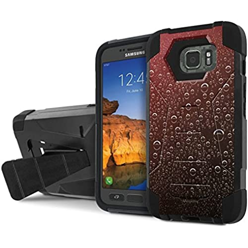 AT&T [Galaxy S7 Active] Armor Case [NakedShield] [Black/Black] Tough ShockProof [Kickstand] Phone Case - [Red Sales