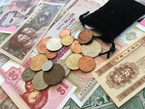Set Collection of 25 World Coins and 25 Foreign Paper Money Banknotes