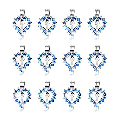 12pcs Rhodium Blue Diamond Locket Diffuser Pendant Heart Pearl Cage Beads with Lava Stone Charms for Necklace Bracelet Jewelry Making - Frame Locket Necklace Heart
