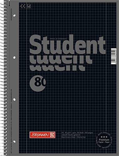 5 Collegeblöcke Student A4, Colour Code onyx, kariert (Lin. 28) 80 Blatt, 90g/m²