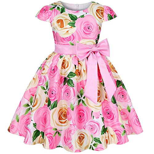 (AIMJCHLD Big Girls Ruffle A-Line Rustic Flower Dress Tea Length Party Wedding Pageant Ball Gowns Sundress Bridesmaid Formal Fancy Graduation Dresses Size 7 8 Years (Pink)