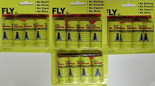 Fashion 16pc Insect Bug Fly Hanging Glue Catcher Trap RibbonTape Strip Sticky Flies Roll
