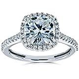 Cushion Moissanite and Diamond Halo Engagement Ring 2 1/4 CTW 14k White Gold, 4.5