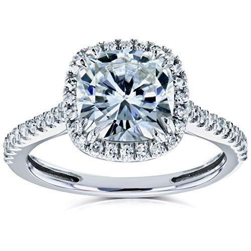Cushion Moissanite and Diamond Halo Engagement Ring 2 1/4 CTW 14k White Gold, 8 from Kobelli
