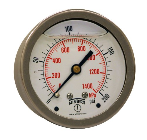 "Winters PFQ Series Stainless Steel 304 Dual Scale Liquid Filled Pressure Gauge with Brass Internals, 0-200 psi/kpa,2-1/2"" Dial Display, +/-1.5% Accuracy, 1/4"" NPT Center Back Mount from Winters Instruments"