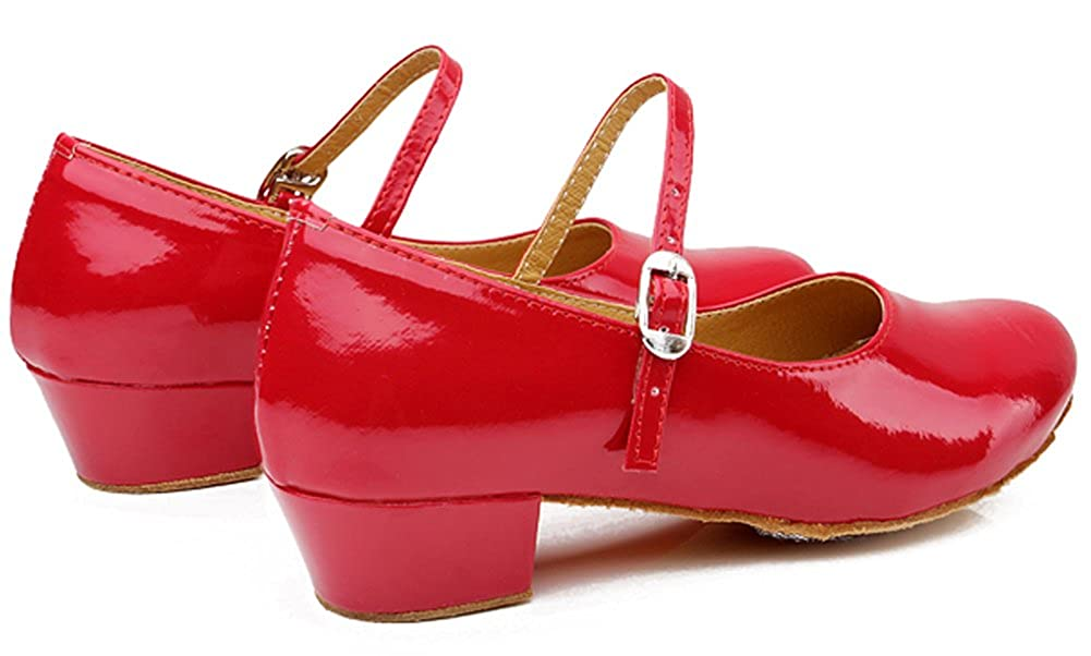 Toddler//Little Kid//Big Kid HW-GOODS Girls Leather Single Strap Red Dancing Shoes