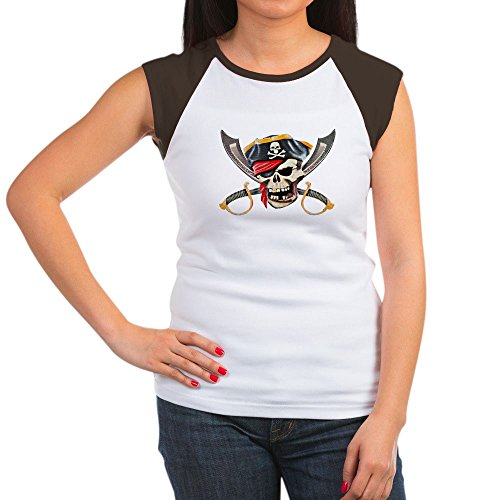 (Royal Lion Women's Cap Sleeve T-Shirt Pirate Skull Eyepatch Gold Tooth - Brown/White, XL (16-18))