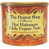 The Peanut Shop of Williamsburg Hot Habanero Chile Pepper Nuts, 10.5-Ounce Tin