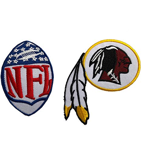 Hipatch Washington Redskins Embroidered Patch Iron on Logo Vest Jacket Cap Hoodie Backpack Patch Iron On/sew on Patch Set of 2Pcs