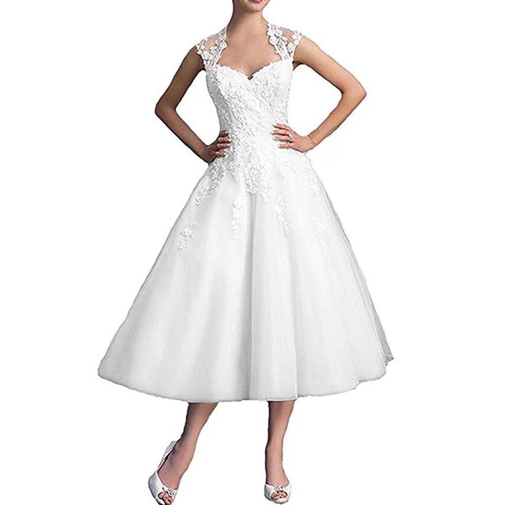 Sapphire Bridal Lace Cap Sleeves Tea Length Reception Wedding Dress