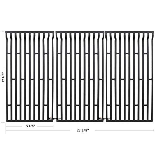 Hisencn Repair Cast Iron Cooking Grid, Cooking Grates Replacement for Fiesta Blue Ember, Blue Ember FG50069LP, Blue Ember FG50069NG, FG500057-103, FG50057-703NG, FG50069 Gas Grill Models, Set of 3
