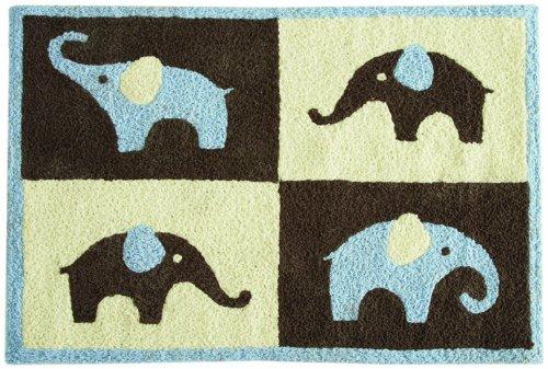 Carter's Blue Elephant Rug, Blue/Choc, 30 X 40″, Baby & Kids Zone