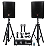 "Rockville Package PA System Mixer/Amp+10"" Speakers+Stands+Mics+Bluetooth (RPG2X10 v2)"