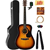 Yamaha F325D Dreadnought Acoustic Guitar - Tobacco Sunburst Bundle with Hard Case, Tuner, Strings, Strap, Picks, Austin Bazaar Instructional DVD, and Polishing Cloth