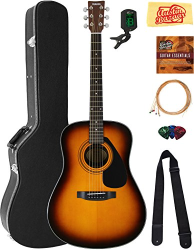 Tie Strings Acoustic Guitar - Yamaha F325D Dreadnought Acoustic Guitar - Tobacco Sunburst Bundle with Hard Case, Tuner, Strings, Strap, Picks, Austin Bazaar Instructional DVD, and Polishing Cloth